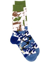 Gosha Rubchinskiy - Green And Blue Camo Combo Socks - Lyst