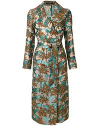 Tagliatore - Tropical Print Trench Coat - Lyst