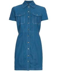 SKIIM - Leather Button Down Mini Dress - Lyst