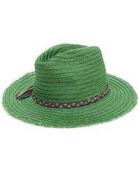 Inverni - Frayed Trim Woven Hat - Lyst