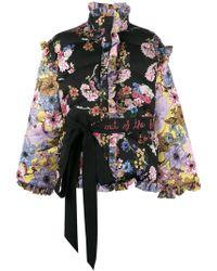Preen By Thornton Bregazzi - Floral Print Ruffle Detachable Sleeve Puffer Jacket - Lyst