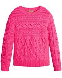 Burberry - Aran Knit Wool Cashmere Sweater - Lyst