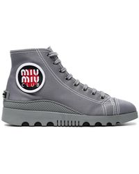 Miu Miu - Grey Canvas High Top Trainers - Lyst