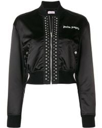 Palm Angels - Cropped Satin Bomber Jacket - Lyst