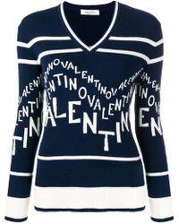 Valentino - Logo Intarsia Wool Blend Jumper - Lyst