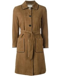 L'Autre Chose - Trench Coat With Contrast Black Piping - Lyst