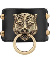 Gucci - Lederarmband mit Tigerkopf - Lyst