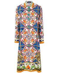 Dolce & Gabbana - Majolica Print Shirt Dress - Lyst