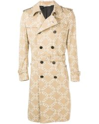 Valentino - Double-breasted Logo Print Trench Coat - Lyst