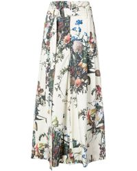 Adam Lippes   Belted Flared Floral Trousers   Lyst