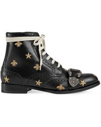b1303a779b67 Gucci - Queercore Embroidered Brogue Boot - Lyst