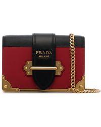 Prada - Black And Red Cahier Mini Leather Shoulder Bag - Lyst 719dbd47bb1f6