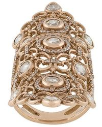 Loree Rodkin - 18kt Rose Gold And Diamond Long Finger Ring - Lyst