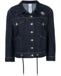 Carven - Bead-embellished Denim Jacket - Lyst