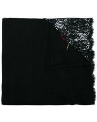 Janavi - Black Corner Rose Lace Embroidered Cashmere Scarf - Lyst