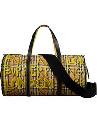 Burberry - Medium Graffiti Print Vintage Check Barrel Bag - Lyst