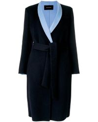 Cedric Charlier | Contrast-lapel Tailored Coat | Lyst