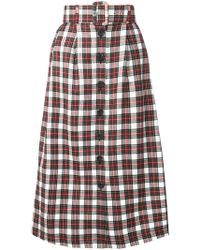 Isa Arfen - Belted Plaid Skirt - Lyst