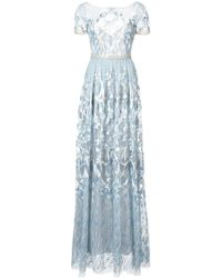 Marchesa notte - Embroidered Plunge Back Gown - Lyst