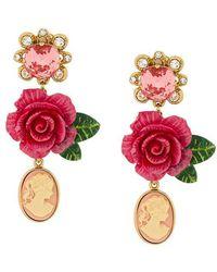 Dolce & Gabbana - Cameo Crystal Rose Drop Earrings - Lyst