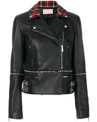 Christopher Kane | Tartan Collar Biker Jacket | Lyst