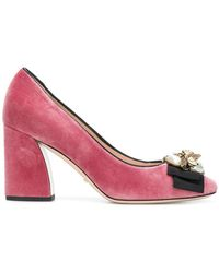 79ed9ae91ce Gucci Women s Satin Studded Bow Pumps In Red in Red - Lyst