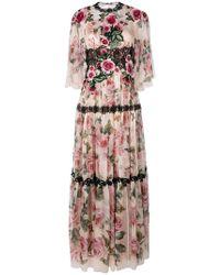 Dolce & Gabbana - Vestido de noche largo con rosas - Lyst