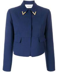 Valentino - Dark Blue Cropped Wool Jacket - Lyst