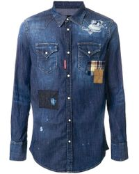 1f1eda3b32 DSquared² - Distressed Denim Patchwork Shirt - Lyst