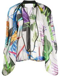 Genny - Floral Print Flowing Bomber Jacket - Lyst