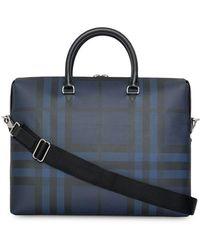 977f057e3729 Lyst - Burberry Colour Block London Leather Crossbody Briefcase ...