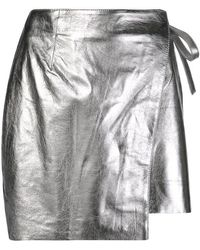 Laneus - Metallic-effect Wrap-front Skirt - Lyst