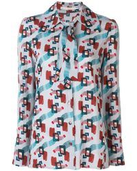 L'Autre Chose - Printed Pussy Bow Shirt - Lyst