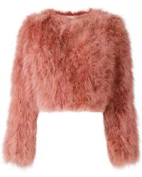 Paule Ka - Cropped Feather Jacket - Lyst
