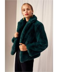 Keepsake - Stay With Me Emerald Faux-fur Coat - Lyst