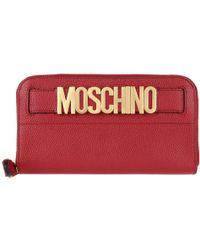 Moschino | Logo Leather Wallet Burgundy | Lyst