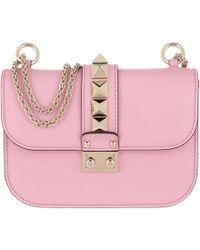 7ea784ebde5 Valentino - Rockstud Lock Shoulder Bag Small Leather Absolute Rose - Lyst