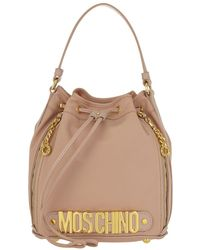 Moschino - Logo Medium Nylon Bucket Bag Rose - Lyst