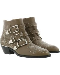Chloé - Susanna Leather Studs Boots Maple Brown - Lyst