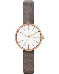 Skagen - Signatur Leather Watch Grey - Lyst