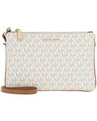 9ba059f543260b Michael Kors - Large Double Pouchette Crossbody Bag Vanilla - Lyst