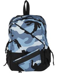 f0781a7ba3a0 Valentino - Sporty Nylon Backpack Camouflage Light Blue - Lyst