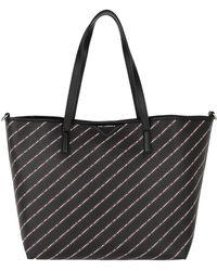 Karl Lagerfeld - K/stripe Logo Shopper Black - Lyst