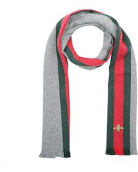 Gucci - Wool Cashmere Scarf With Web Lead Dark Green - Lyst