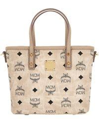 MCM - Anya Top Zip Shopper Mini Beige - Lyst
