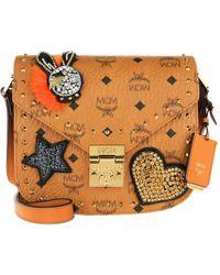 MCM - Patricia Embellished Visetos Shoulder Bag Cognac - Lyst