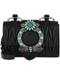 b55505940ad7 Miu Miu Madras Miu Lady Shoulder Bag Calf Leather Black in Black - Lyst