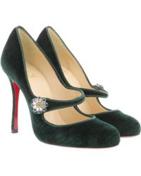 Christian Louboutin - Booton Mj Court Shoes Velvet Green - Lyst