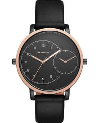 Skagen - Ladies Hagen Dual Timer Leather Watch Black/black - Lyst