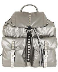 Prada - Metallic Backpack Nylon Iron/black - Lyst